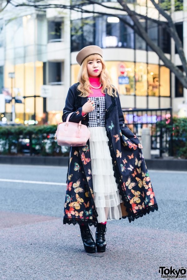Stylish Look in Tokyo w/ Pillbox Hat, Romantic Standard Butterfly Coat, Zara Turtleneck Top, (ME) Harajuku Tiered Dress, Furla Bag & GRL Platform Booties