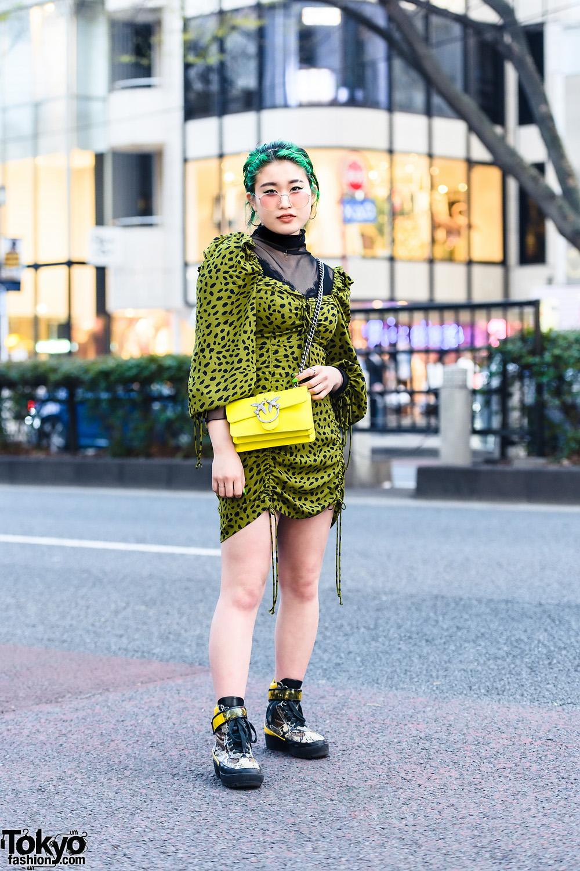 Japanese Street Style w/ Green Hair Streaks, Romantic Standard, Dolls Kill Polka-Dot Dress, Pinko Official & Codona De Moda Snakeskin Sneakers