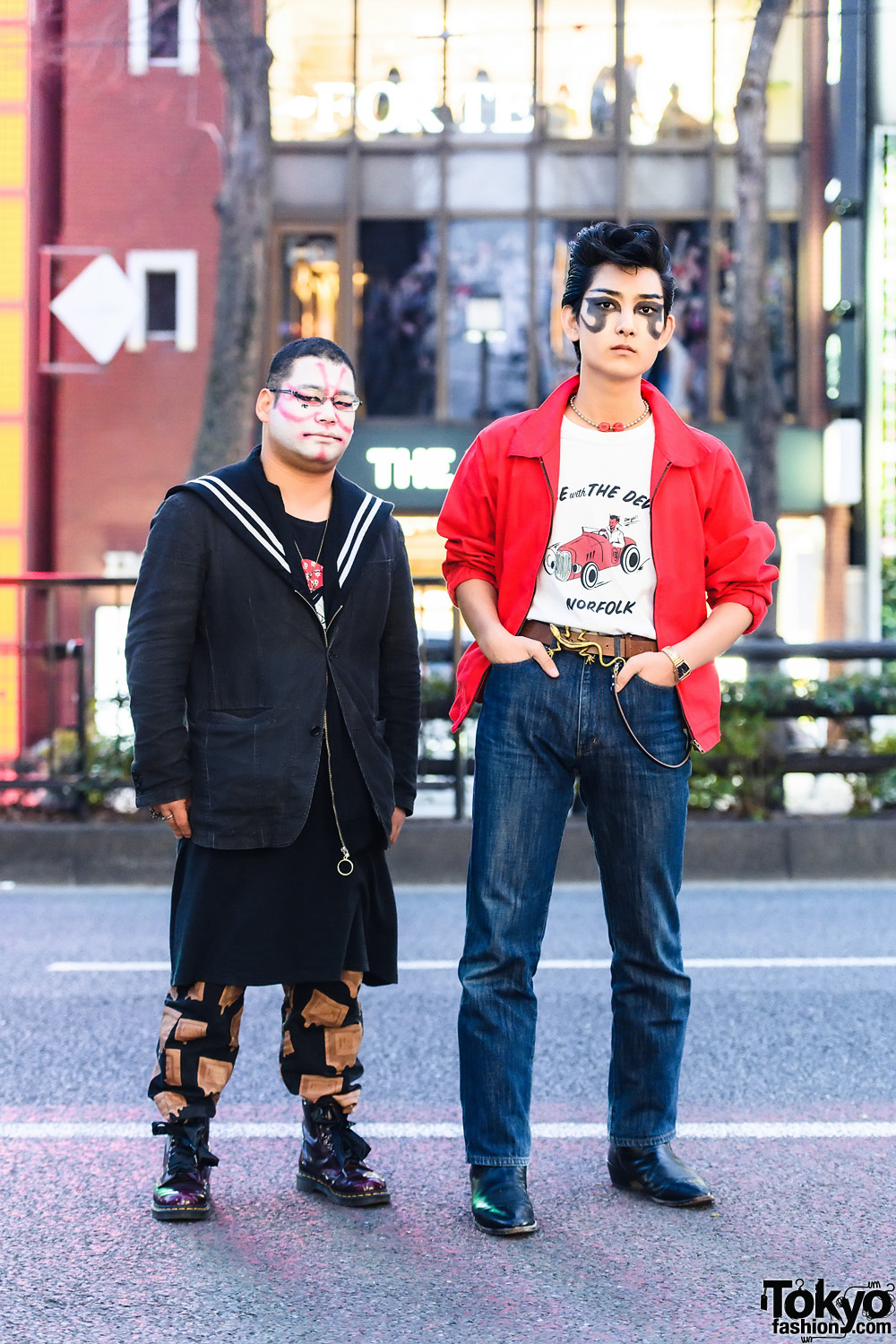 Tokyo Street Styles w/ Face Paint, Sailor Collar Jacket, Dry Bones T-Shirt, Tramp Jeans, Dice Lizard Belt, Purple Boots & Leather Boots