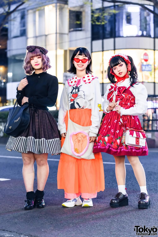 Harajuku Girls Styles w/ Hair Bow, Lace Headdress, Twin Tails, Axes, Sylvester Sweater, Handmade Fashion, Baby The Stars Shine Bright, Angelic Pretty & Yumetenbo