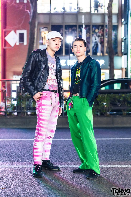 Japanese Hairdressers Street Style w/ Beret, Longines Watch, Frontier Leathers Jacket, ACC Studio La Ropa, Levi's, Armani, Shury, Lacoste, Versaci & Dr. Martens