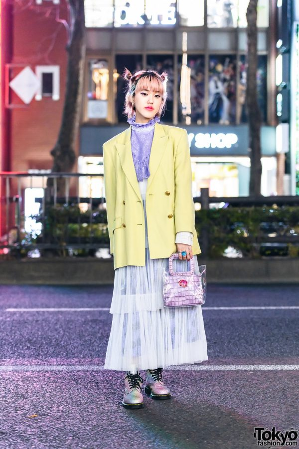 Japanese Street Style w/ Pink Buns, Funktique Blazer, Jenny Fax, Vintage Chloe Sheer Tiered Dress, Yello Handbag & Dr. Martens Glitter Boots