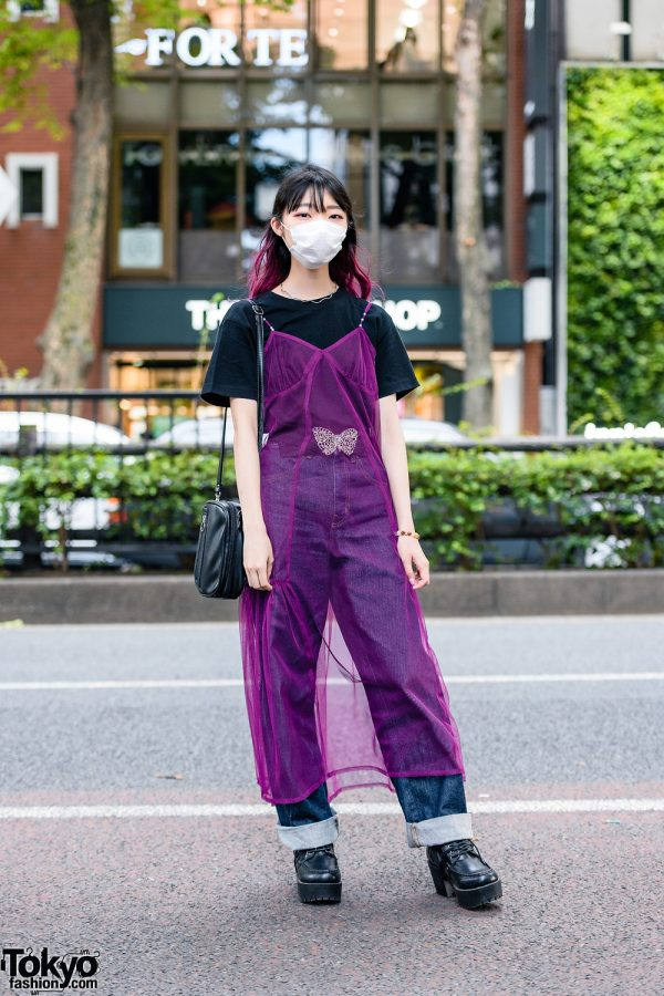 Sheer Tokyo Street Style w/ Purple Hair, Face Mask, Lingerie Dress, UNIQLO Cuffed Pants & Yosuke Platform Shoes