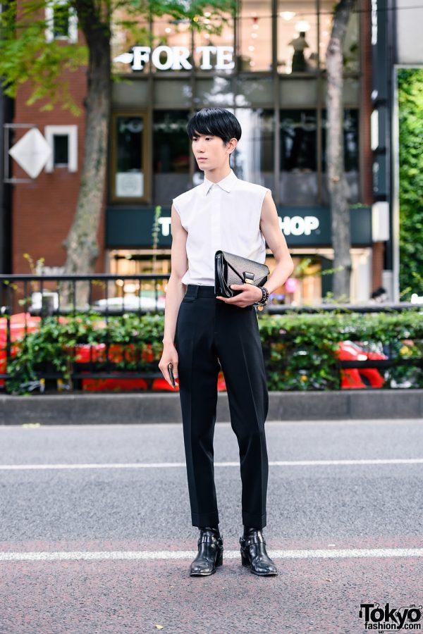 Monochrome Mens Style in Tokyo w/ Dior Homme Shirt, Club Monaco Dress Pants, Louis Vuitton Clutch, Alexander Wang & Saint Laurent Boots