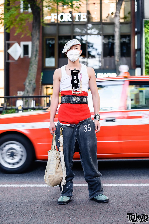 Japanese Streetwear Style w/ Button Beret, Jean Paul Gaultier Top, Taishi Nobukuni, Robe De Chambre Comme des Garcons Pants, Handmade & Vintage, Aska Masuda & 70s US Army Boots