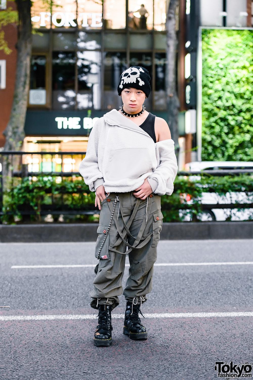 Tokyo Guy's Streetwear Style w/ Skull Beanie, Nike Asymmetrical Jacket, UFO Cargo Strap Pants & Dr. Martens Boots
