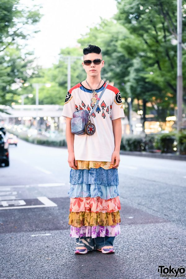 Harajuku Street Style w/ Sunglasses, Layered Necklaces, Head T-Shirt, Vintage Tiered Skirt Over Ripped Jeans, Black Means Coin Purse & Nike Sneakers