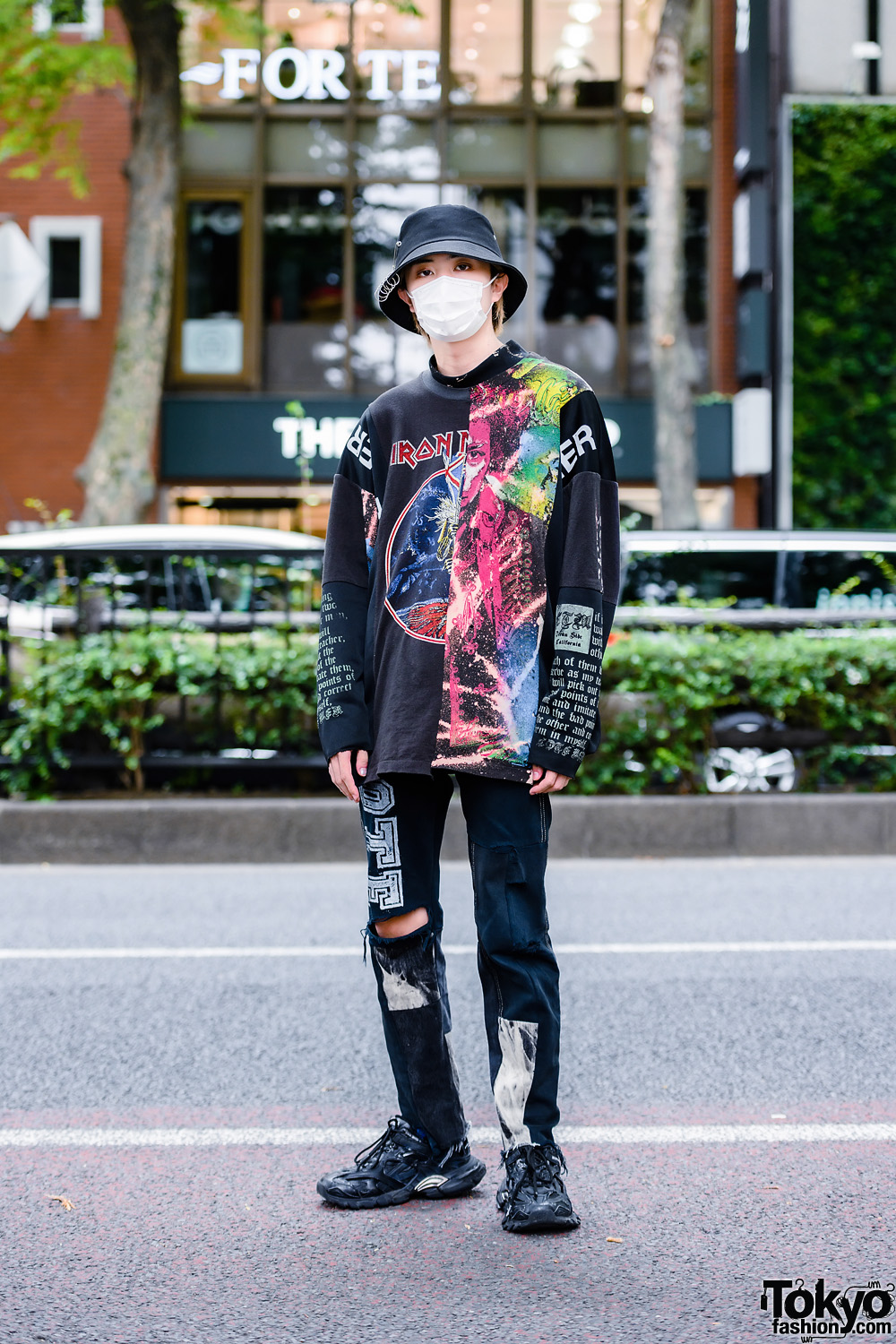 Cote Mer Graphic Streetwear Style w/ Bucket Hat, Face Mask, Patchwork Sweatshirt, Ripped Pants & Balenciaga Chunky Sneakers