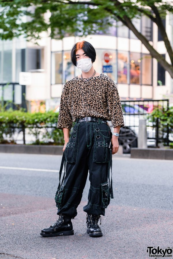 Harajuku Guy's Streetwear Style w/ Face Mask, Chain Necklace, Vintage Leopard Shirt, Tripp NYC Strap Pants & Harley Davidson Boots