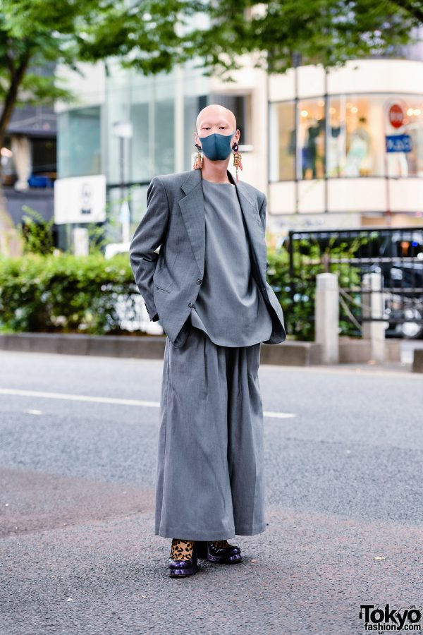 Japanese Model/Musician/Actor in All Gray Streetwear Style w/ Bull Horn Snail Earrings, Handmade Tassel Earrings, Keisuke Yoneda Wide Leg Pants, Balenciaga & Shinya Yamaguchi Leopard Shoes