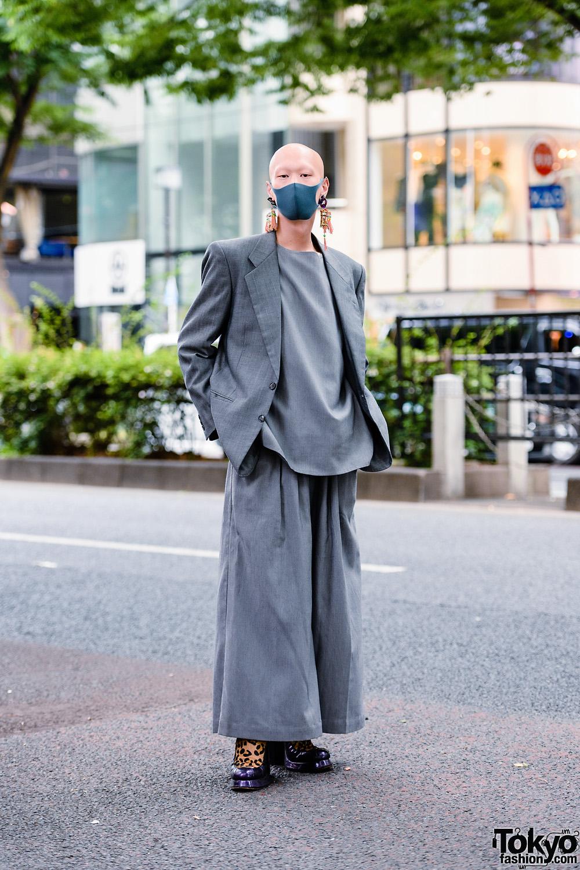 Japanese Model/Musician/Actor in All Gray Streetwear Style w/ Bull Horn Snail Earrings, Handmade Tassel Earrings, Keisuke Yoneda Wide Leg Pants, Balenciaga & Shinya Yamaguchi Leopard Shoes