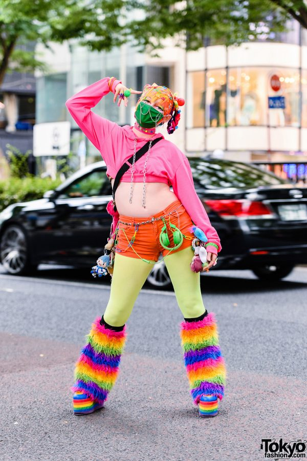 Kawaii Tokyo Street Style w/ Multi-Colored Twin Braids, Decora Hair Accessories, (ME) Harajuku Hoodie, Claire's, 6%DokiDoki, WEGO Headphones, Algonquins Furry Bag & YRU Rainbow Platforms