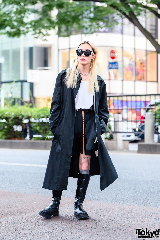 Anrealage Monochrome Street Style w/ Bleached Hair, Tortoiseshell Sunglasses, Long Coat, Pleated Shorts, Reversible Belt & Zara Knee Boots