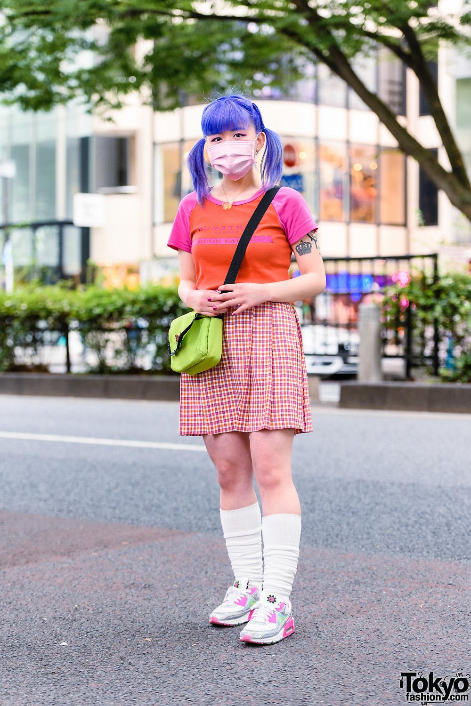 Harajuku Girl's Style w/ Twin Purple Tails, Pink Eye Makeup & Mask, Burberry Shirt, Chicago Plaid Skirt, Butterfly Fall Vintage, WEGO Bag & Nike Sneakers