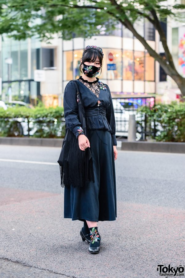 All Black Remake Streetwear Style w/ Jeweled Headband & Mask, Ruffle Blouse, GU Wide Pants, Embellished Socks, Fringed Bag & Heeled Pumps