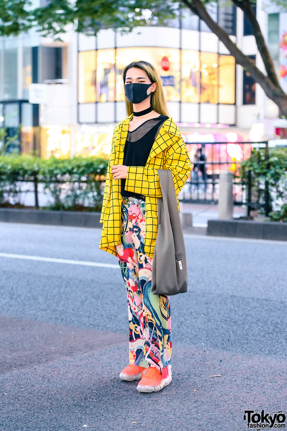 Casual Eclectic Streetwear Style w/ Black Face Mask, Checkered Blazer, Mesh Sweatshirt, Mukzin Cartoon Pants, Unfil Tote & Grounds Sneakers