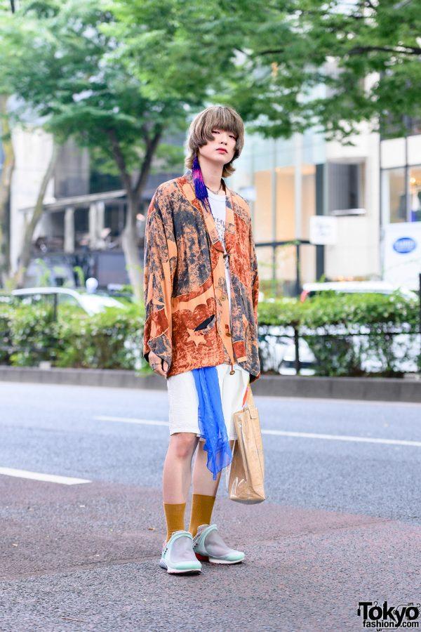 Japanese Menswear in Harajuku w/ Single Tassel Earring, Kimono Jacket, Handmade Shirt, Kaiki Textured Shorts, Hamilton, Hermes & Nike x Comme des Garcons Homme Plus Mint Sneakers