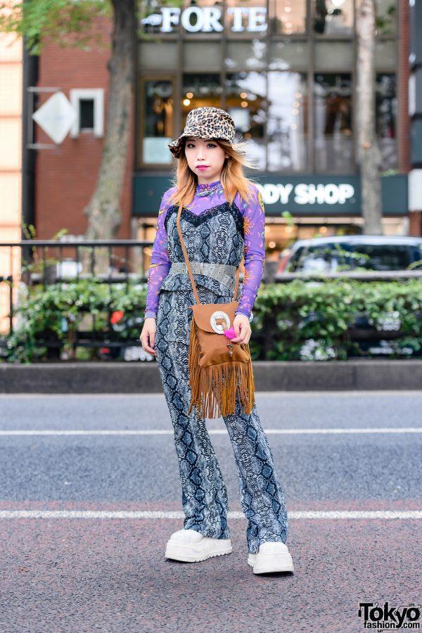 Print on Print Style in Harajuku w/ Leopard Bucket Hat,  Kobinai, Spinns, Snakeskin Print Outfit, Fringe Bag & Demonia Platform Sneakers
