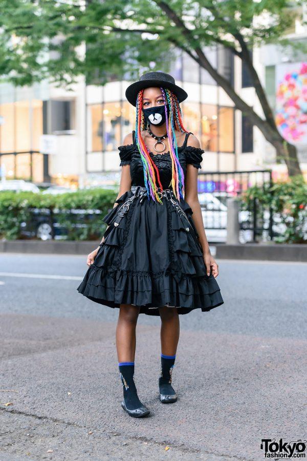 All Black Streetwear Look in Harajuku w/ Rainbow Braids, Straw Hat, Spiked Choker, Killstar, Bodyline Skirt & Ballerina Flats