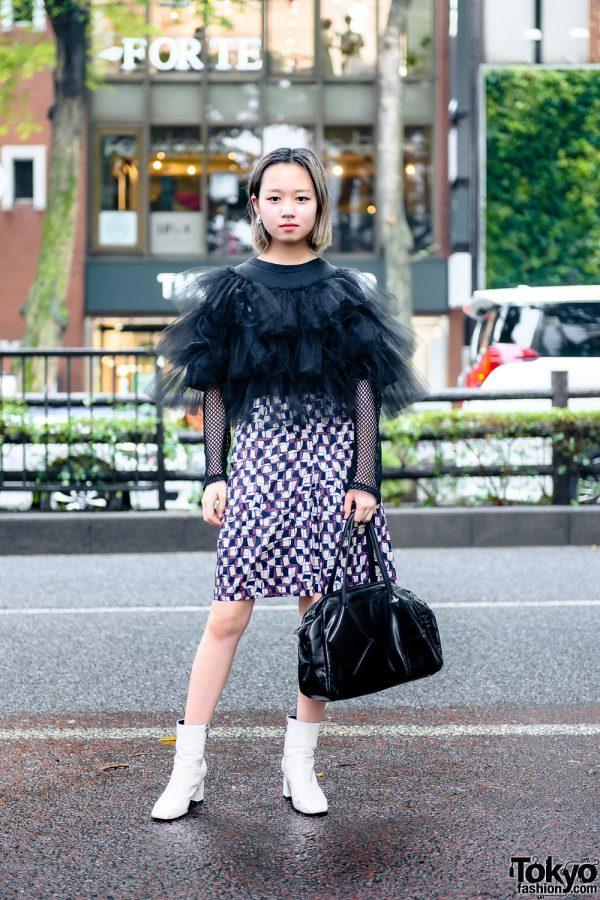 Tokyo Style w/ Septum Ring, Microwave Tulle Top, Geometric Print Skirt, Vivienne Westwood Handbag & Vintage Boots