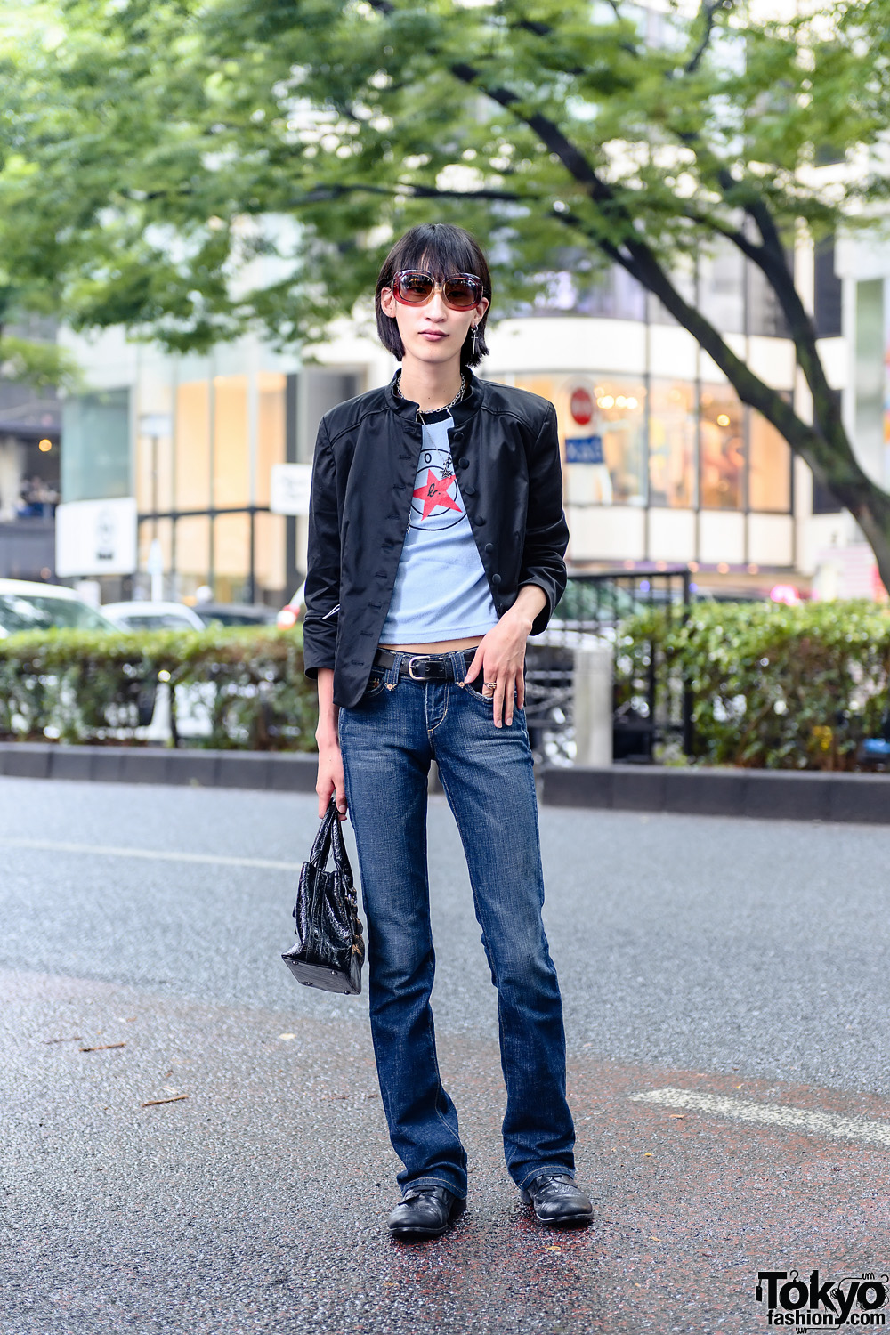Japanese Musician's Rock Style w/ Fringed Bob, Oversized Sunglasses, Black Jacket, Slim-Fit Jeans & Lace-Up Loafers