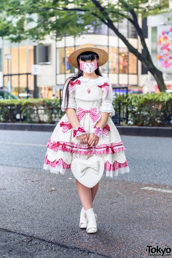 Baby, The Stars Shine Bright Sweet Lolita Street Style w/ Straw Hat, Floral Face Mask, Ice Cream Necklace, Bow Dress, Heart Bag & Bow Shoes