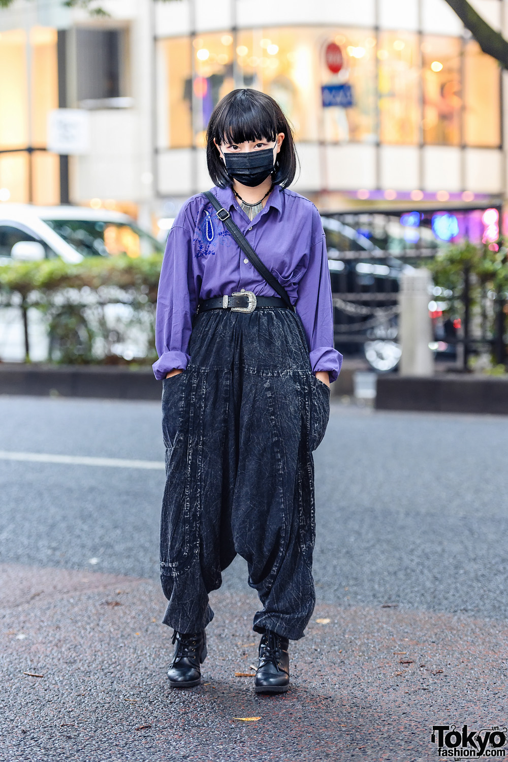 Harajuku Street Style w/ Face Mask, Embroidered Shirt, Drop Crotch Pants, Fringed Bag & Leather Boots