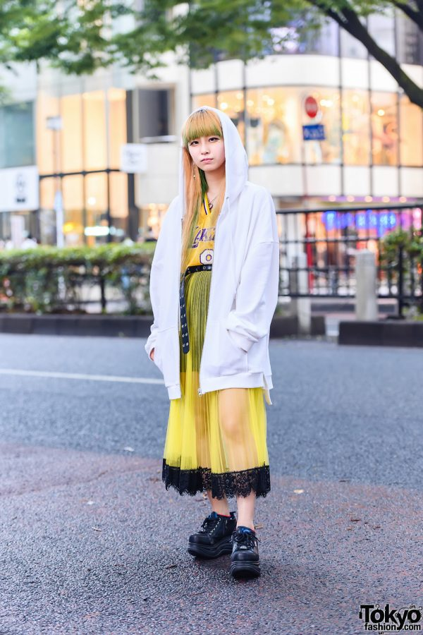 Harajuku Style w/ Yellow & Green Hair, Lakers Jersey, &Ellecy Hoodie, Armani Exchange Accordion Skirt & Yosuke Boots