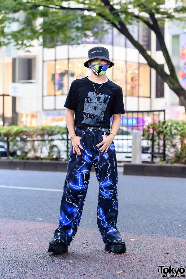 Casual Mens Streetwear Style w/ Balenciaga Bucket Hat, Remake Mask, Kimetsu No Yaiba Shirt, Lightning Pants, Bless & Yosuke