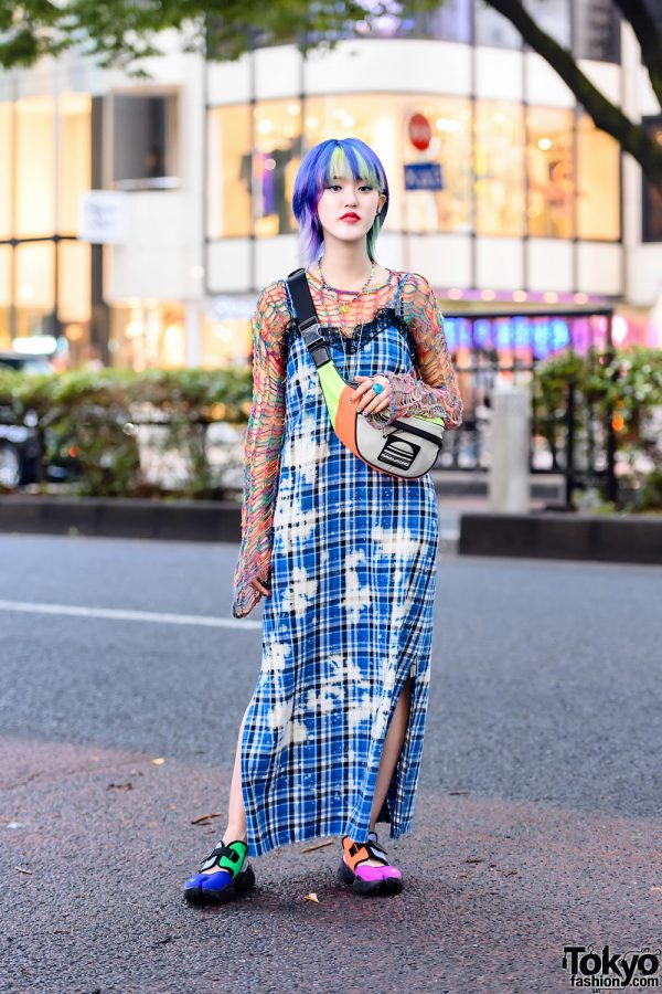 Colorful Tokyo Style w/ Multicolored Hair, Smiley Face Necklace, Knit Sweater, X-Girl Plaid Dres, Marc Jacobs & Nike Tabi Sneakers