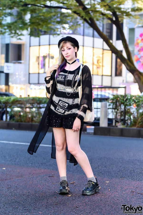 Tokyo Street Style w/ Black Beret, Glitter Bang by Unicorn Holic Holo Harness, Sexpot Revenge, Angelic Pretty, Anna Sui, In The Sky Maria, Bia Wazima Canvas Tote & GU