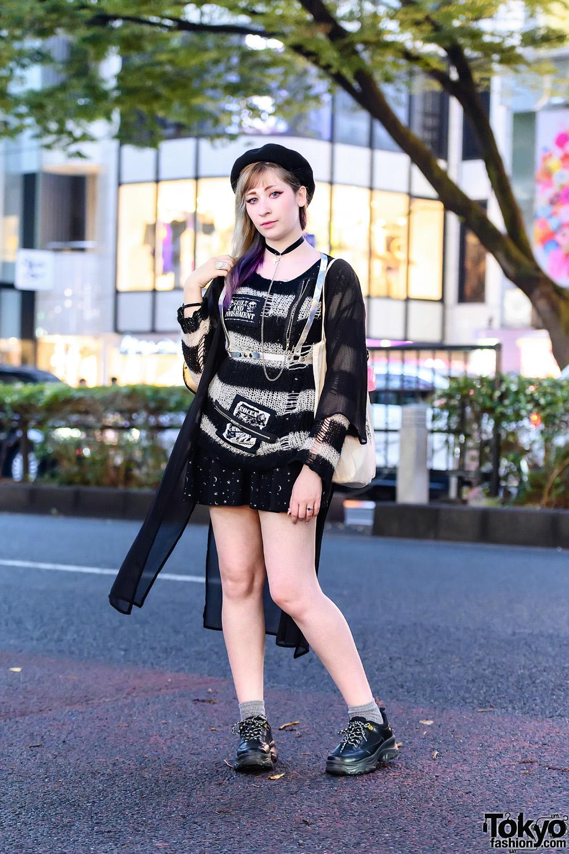 Tokyo Street Style w/ Black Beret, Glitter Bang by Unicorn Holic Holo Harness, Sexpot Revenge, Angelic Pretty, Anna Sui, In The Sky Maria, Bia Wazima Canvas Tote & GU