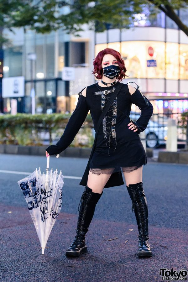 All Black Tokyo Street Style w/ Barb Wire Face Mask, Drug Honey Sweater Dress, Thank You Mart Bag, Black Lives Matter Umbrella & Thigh Boots