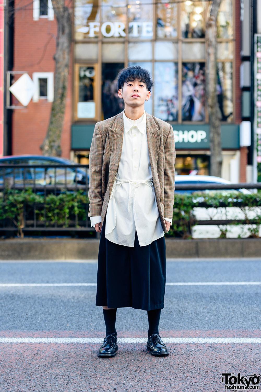 Tokyo Menswear w/ Single Earring, New Yorker Plaid Blazer, Toironier Shirt, Lui's Culotte Pants, Gucci & Haruta Leather Shoes