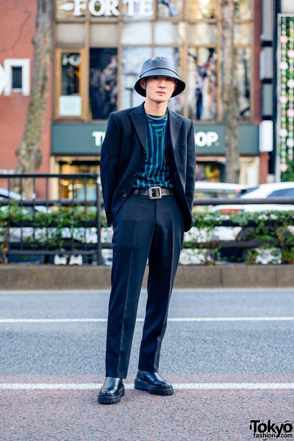 Harajuku Street Style w/ Bucket Hat, Resale Suit, Calvin Klein, Maison Margiela, Vintage Bag & Zara Boots