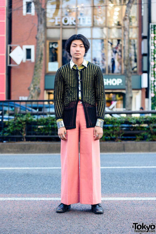 Harajuku Retro Streetwear Style w/ Net Cardigan, 3.1 Phillip Lim, Maison Margiela Rings, Coral Pants & Vintage Boots