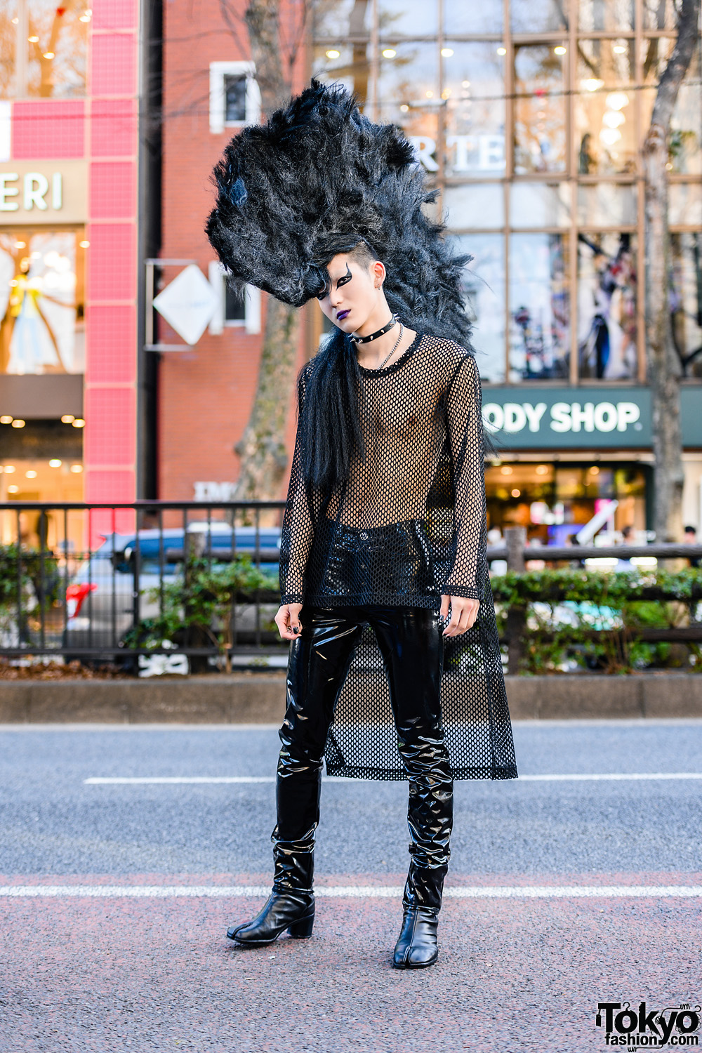 Tokyo Mohawk Hairstyle w/ Spiked Choker, Comme des Garcons Fishnet Top, Catanzaro Pleather Pants & Maison Margiela Tabi Boots