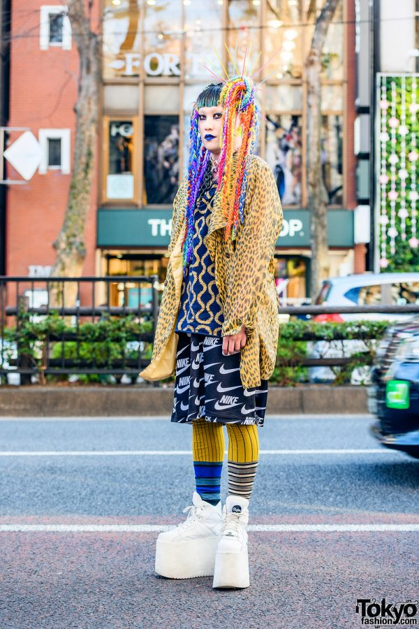 Tokyo Style w/ Braided Rainbow Hair Falls, Vivienne Westwood World's End, Leopard Print, Comme des Garcons x Nike, MM6, Gallerie & Buffalo
