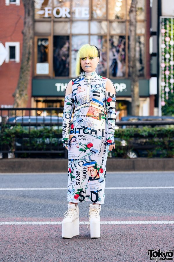 Graphic Print Tokyo Streetwear w/  Leather Harness, Damage Cutout Bandage Dress & YRU Platform Sneakers