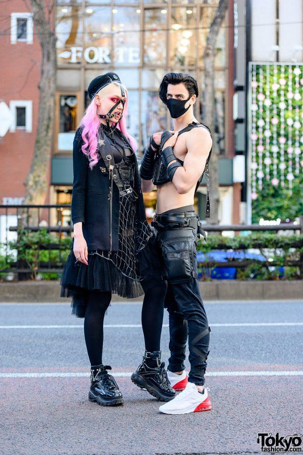 Tokyo Cyberpunk Streetwear Styles w/ Pink Hair, Killstar Harness, URB Top, Honey Birdette Lingerie Dress, POI Designs Vest & Nike Sneakers
