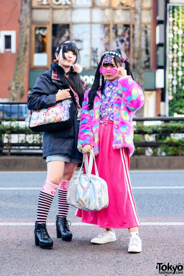 Tokyo Girls Styles w/ Twin Tails, Heart Glasses, Decora Hair Clips, ACDC Rag, Gap, GU, Spinns, Sevens, Thank You Mart Plushie Bag, ABC Mart Booties & Adidas Sneakers