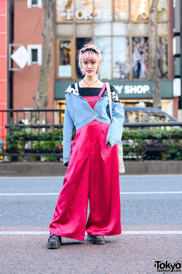 Chic Tokyo Street Style w/ Pastel Pink Hair, Smiley Face Beaded Choker, Flat Denim Jacket, UN3D. Tote, Sacai Satin Overalls & Dr. Martens