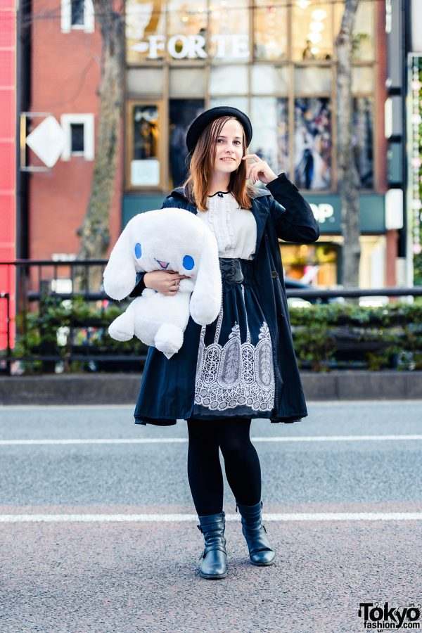 Monochrome Tokyo Look w/ Large Plushie, Fedora Hat, Belted Coat, Handmade Skirt & Black Boots