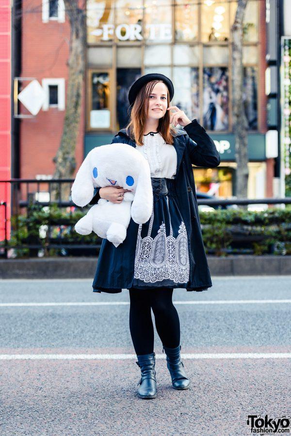 Monochrome Tokyo Look w/ Large Plushie, Fedora Hat, Belted Coat, Handmade Skirt & Black Boots