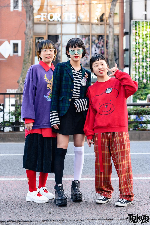 Fashionable Harajuku Family w/ Heart Glasses, PUNYUS Sweatshirt, San To Nibun No Ichi, Vintage Fashion, Converse & Yosuke