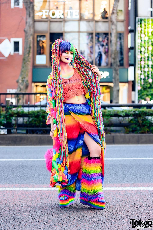 Tokyo Rainbow Street Style w/ Handmade x Daiso Hair Falls, Rainbow Makeup, ACDC Rag Jellybean Kimono, H&M, Tie-Dye Wrap Skirt, Accommode x Disney, Furry Leg Warmers & YRU Platforms