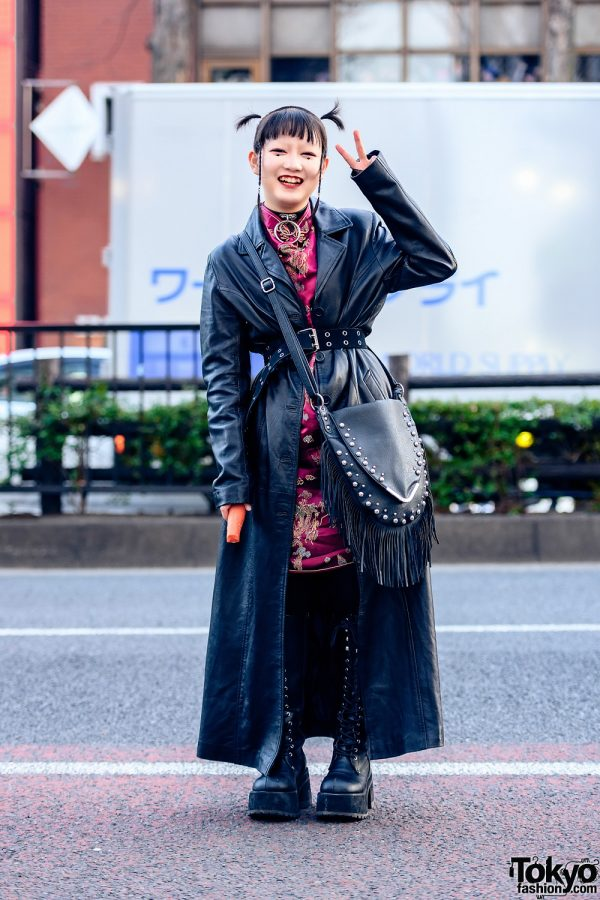 Leather Style in Harajuku w/ Shaved Hairstyle, O-Ring Choker, Leather Trench Coat, Chinese Dragon Dress, Fringe Bag & Demonia Knee Boots