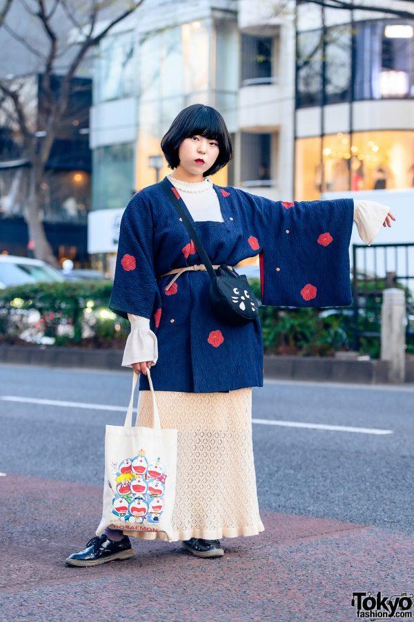 Japanese Street Style w/ Resale Michiyuki, GU Turtleneck Dress, Knit Skirt, Doraemon Canvas Tote, Ne-Net Cat Bag & Patent Shoes