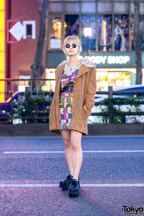 Harajuku Resale Street Style w/ Sunglasses, Fur-Collar Jacket, Printed Dress, Bless Accessories & Yosuke