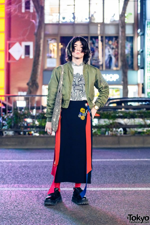 Tokyo Street Style w/ Rhinestone Earpiece, M.Y.O.B. Bomber Jacket, Christopher Nemeth, Sacai Asymmetric Skirt, Rope Print Tote & Eytys Chunky Sneakers